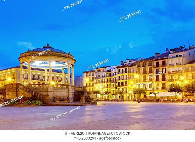 Bandstand in Plaza del Castillo, Pamplona, Navarre, Spain