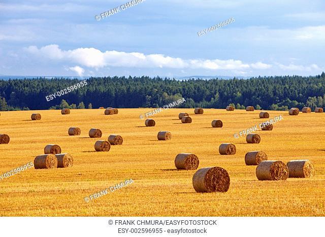 czech republic, southern bohemia - bales of hay