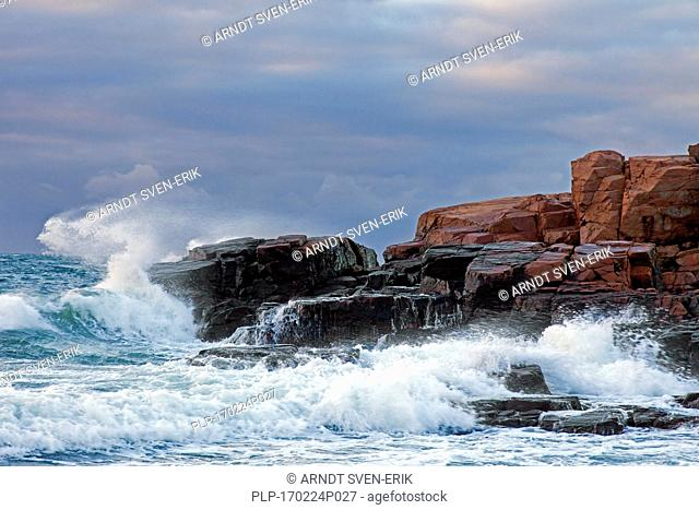 Waves braking on rocky coast of Hovs Hallar, nature reserve along the Baltic Sea on the Bjäre Peninsula, Skåne / Scania, Sweden