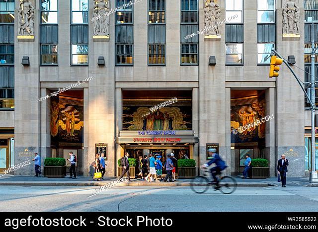 New York City / USA - JUL 19 2018: Rockefeller Center Comcast Builiding Entrance in Midtown Manhattan