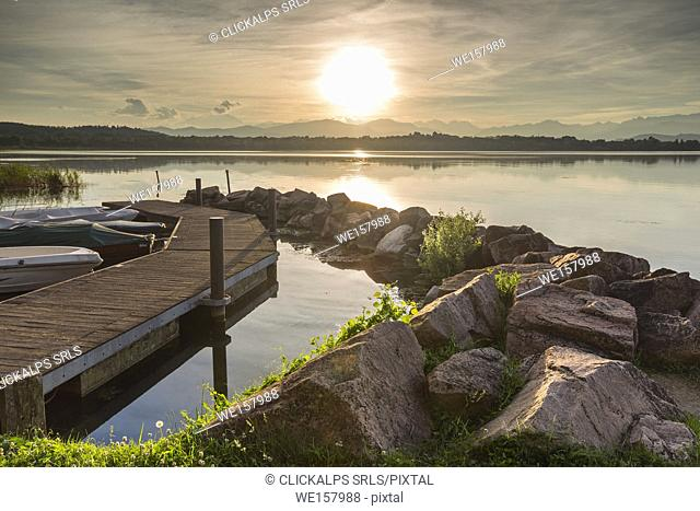 Sunset on lake front of lake Varese from Cazzago Brabbia, Varese province, Lombardy, Italy, Europe