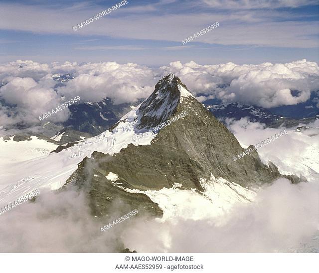 Mount Aspiring, 3036m, through clouds, aerial, S.I., New Zealand