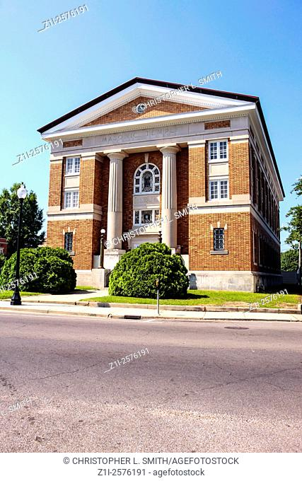 The Masonic Temple on Main Street on the historic district of Hattiesburg, Mississippi
