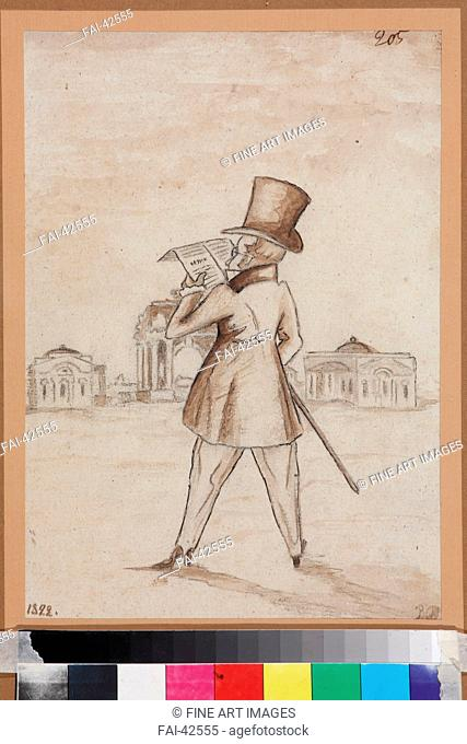 Mikhail Zagoskin (1789-1852) by Anonymous /Pen, brush, Indian ink on paper/Caricature/1830s/Russia/I. Turgenev Memorial Museum, Moscow/28,3x20