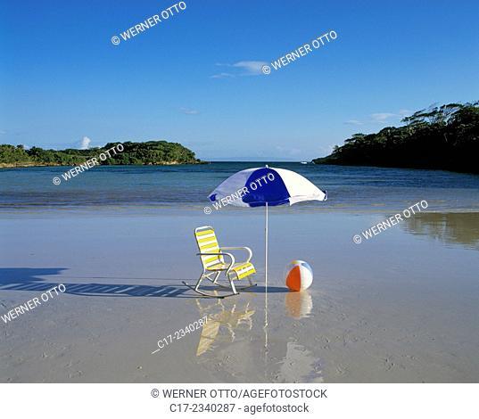tourism, symbolic image, sea, beach, dream beach, holidays, dream vacation, freetime, chair, sunshade, beach ball, Atlantic Ocean, Caribbean Sea, West India