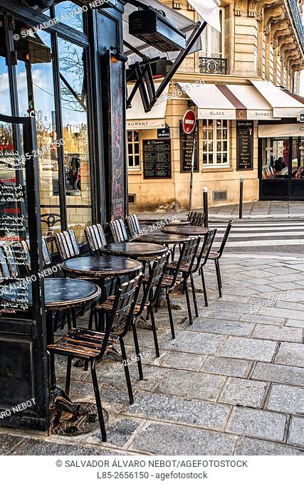 Cafe terrace in Le Marais, Paris, France