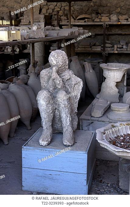 Pompeii (Italy). Human figure in the archaeological site of the city of Pompeii