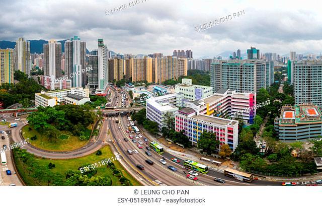 Wong Tai Sin, Hong Kong 17 May 2019: Top view of Hong Kong city