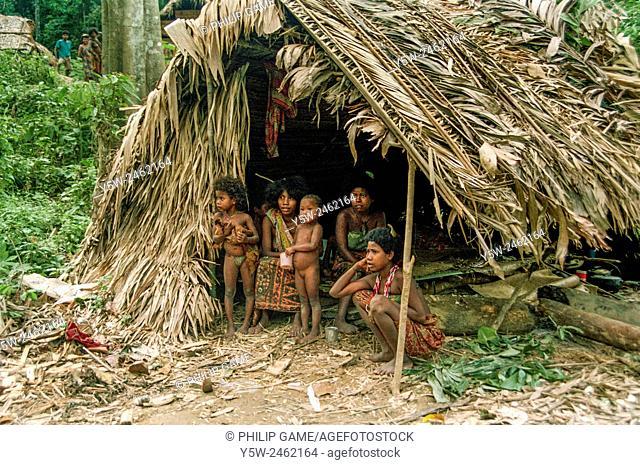 Orang Asli or Sakai family, Taman Negara, Malaysia