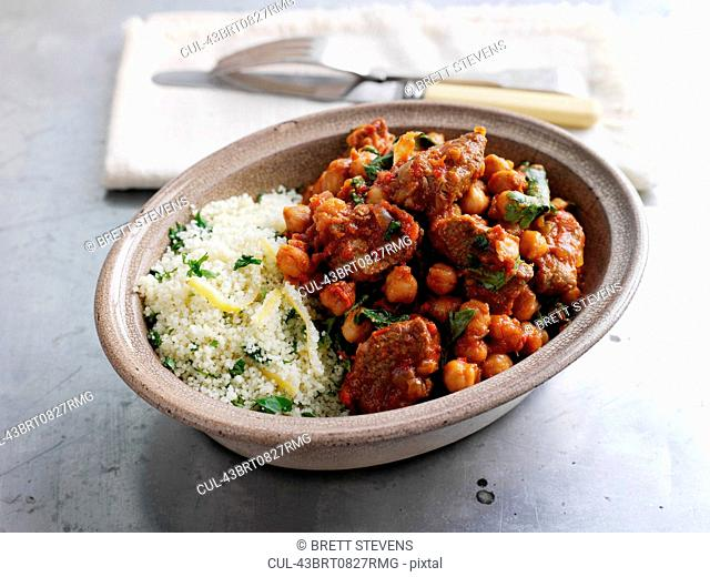Bowl of couscous, meat and chick peas