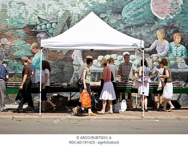 Market stall, St Lawrence Farmer's Market, Toronto, Canada, wall painting