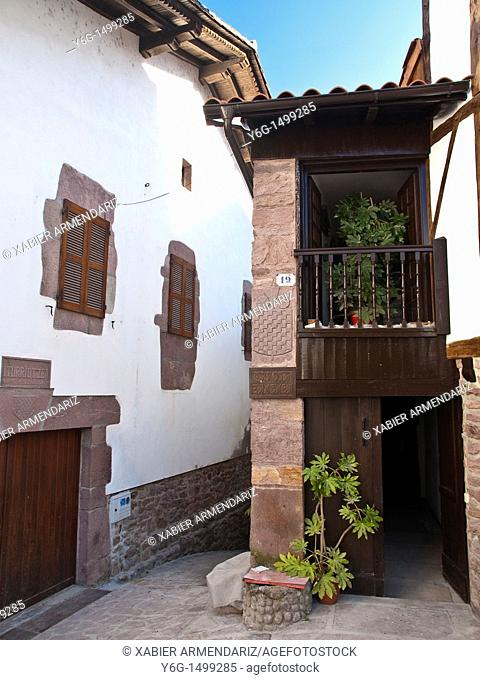 Basque traditional houses in ancient town of Baztan, Kingdom of Navarre, Spain