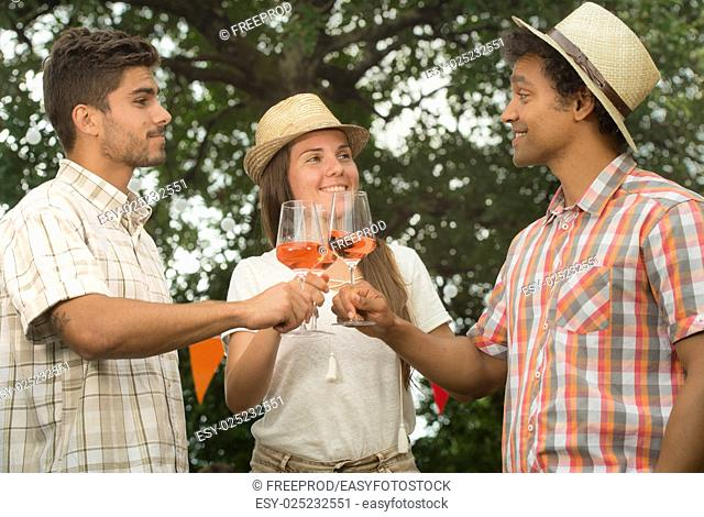 Group of Friends Enjoying Drink, Outdoor, serving rose wine
