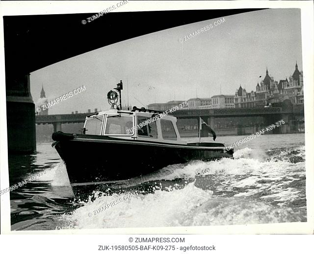 May 05, 1958 - NEW FIBRE GLASS POLICE LAUNCH. A new fibre glass Police launch was handed over for today at the Waterloo Police Pier