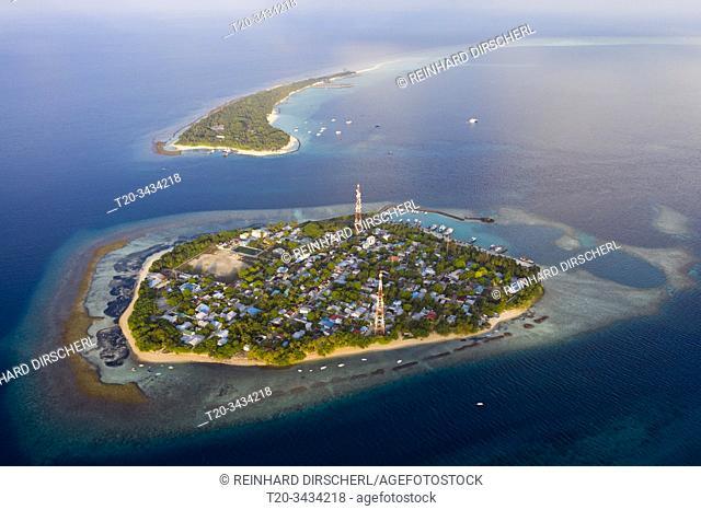 Inhabited Island Rasdhoo und Vacation Island Kuramathi, Rasdhoo Atoll, Indian Ocean, Maldives