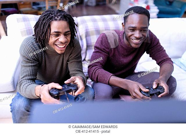 Smiling brothers playing video game on sofa