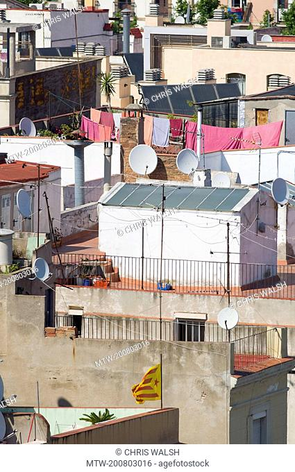 Rooftops apartment crowded Buildings slums