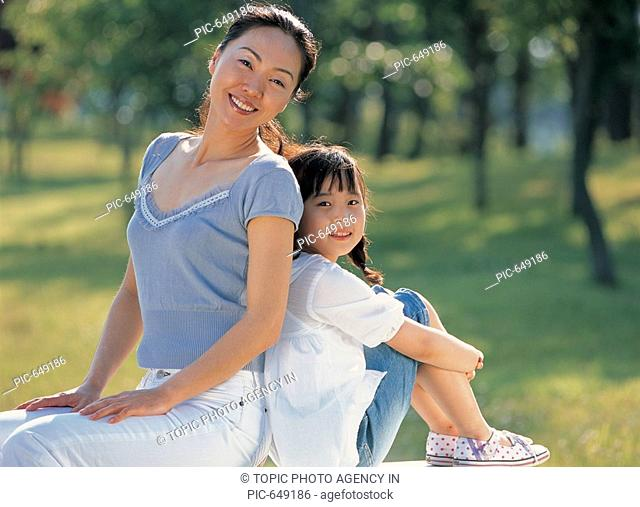Mother and Daughter Outdoor,Korea