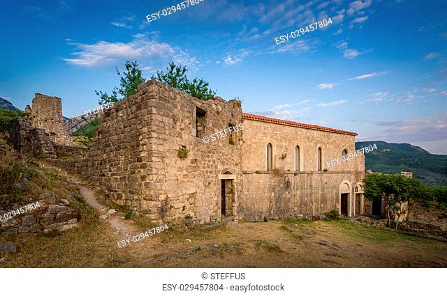 Old fortress building, now used as a museum inside the fortress town. Bar, Montenegro