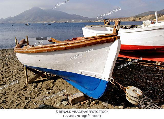 Painted fishermen's boats. Isleta del Moro. Cabo de Gata. Andalucia. Spain