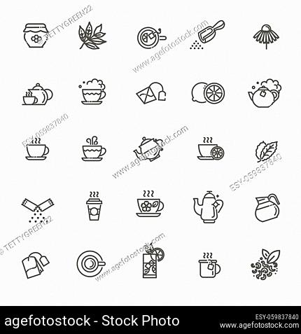 Thin line vector illustration. Outline icons set