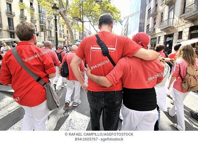 Castellers. La Merce Festival, September 24, La Rambla, Barcelona, Catalonia, Spain