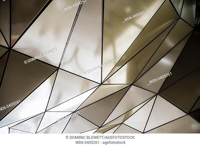 Detail of the entrance canopy at the Alexa mall at Alexanderplatz in Berlin, Germany