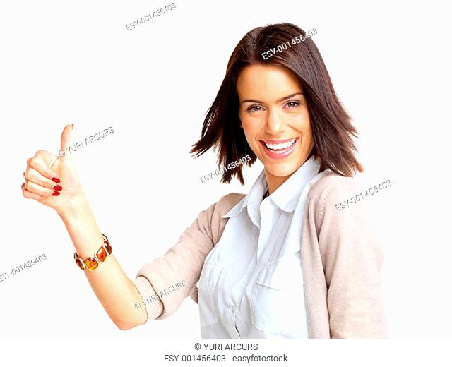 Portrait of a happy young female gesturing thumbs up sign against white background