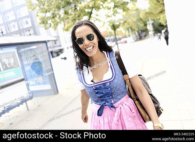 Brazilian woman wearing Dirndl, Munich, Germany