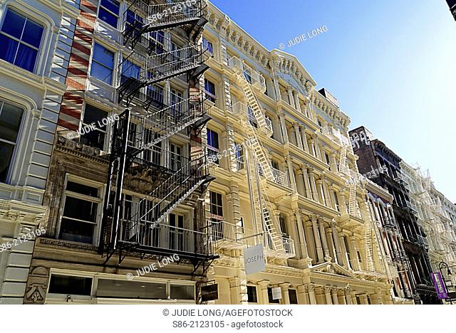 Cast Iron Landmarked Buildings with Exterior Fire Escapes, Green Street, Soho, Manhattan, New York City