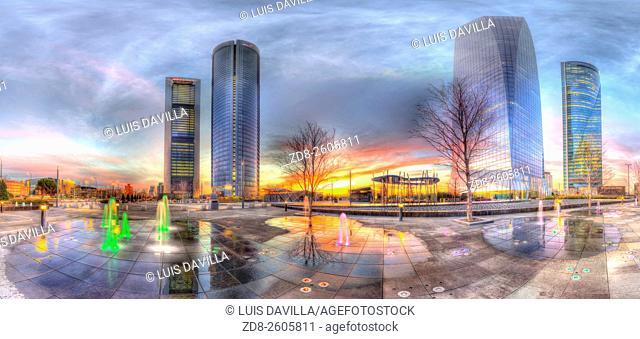 "Cuatro Torres Business Area (CTBA), Spanish for """"Four Towers Business Area"""", is a business district located in the Paseo de la Castellana in Madrid, Spain"