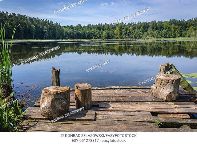 Small lake in Solniki settlement in Ilawa Lake District Landscape Park, Warmian Masurian Voivodeship of Poland