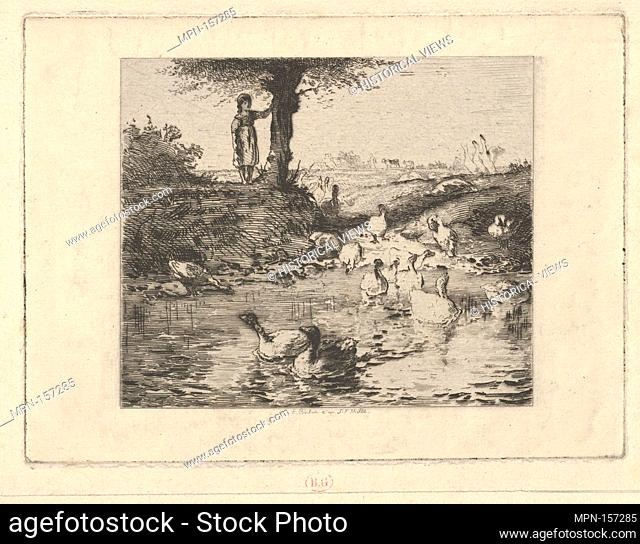 The Guardian of the Geese, after Millet. Engraver: Émile Boilvin (French, Metz 1845-1899 Paris); Artist: After Jean-François Millet (French