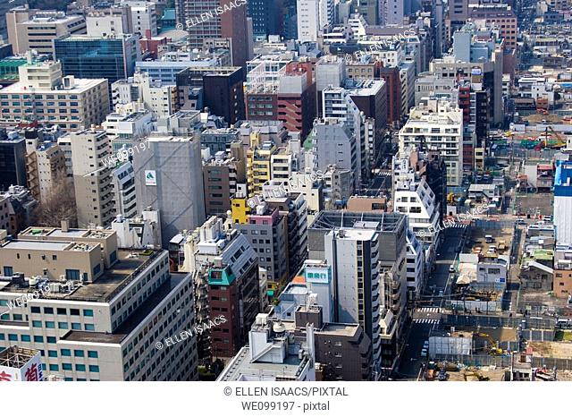 Aerial view of buildings of Tokyo city in Shimbashi and Roppongi districts