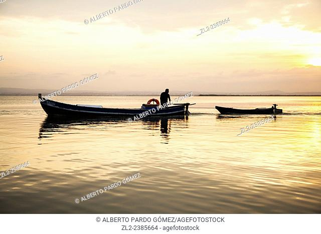 boatman in the Albufera Natural Park, valencia, Spain