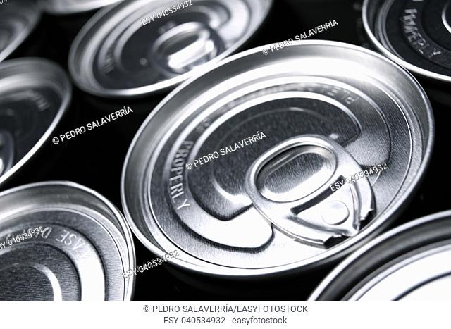 Closeup of a group of aluminium cans