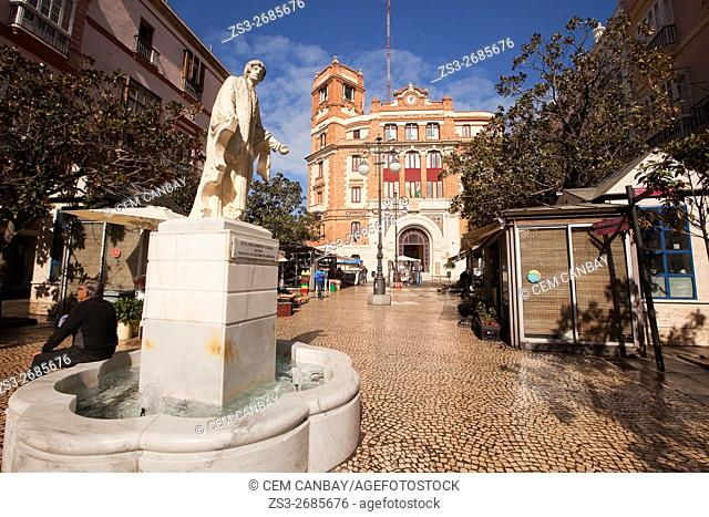 Statue with the old Post Office building-Antigua Oficina de Correo at the background, Atlantic Ocean, Cadiz City, Andalusia, Spain, Europe