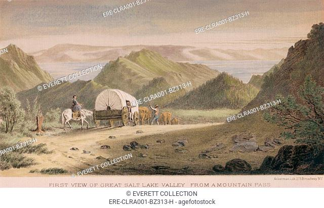 First view of the Great Salt Lake Valley from a mountain pass. Emigrants arrive at their Utah destination in 1850, as depicted by the Army Survey of the lands...