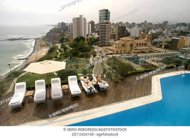 Miraflores Park Hotel chain Orient Express Belmond. Lima. Peru. On the 11th floor is the pool with magnificent and exceptional views of the city and the sea