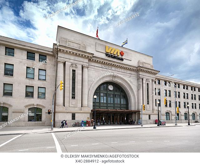 VIA Rail Canada Union Station in Winnipeg downtown. Winnipeg Railway Museum. Main street, Winnipeg, Manitoba, Canada 2017