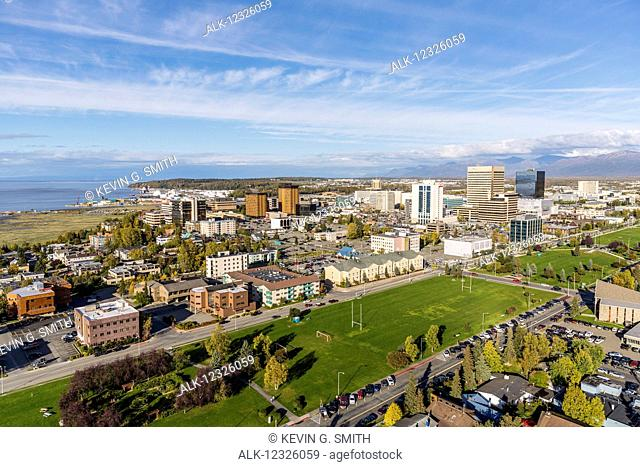 Aerial view of downtown Anchorage and the Delaney Park strip, Southcentral Alaska, USA
