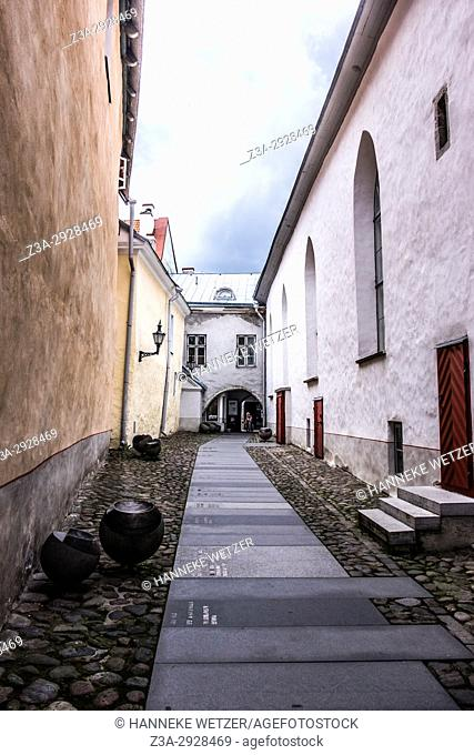 Narrow street of the Great Guild Hall, Estonian History Museum in Tallinn, Estonia