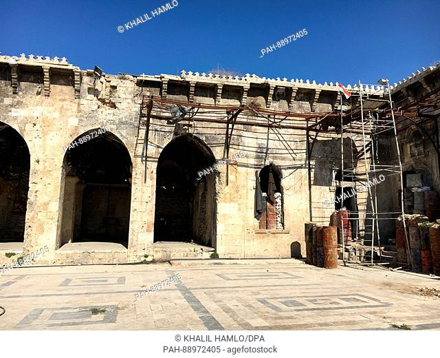 The badly damaged Umayyad mosque in Aleppo, Syria, 05 March 2017. The Syrian government was able to recapture the fiercely contested city just before Christmas...