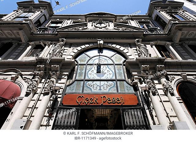 Entrance to Cicek Passage shopping arcade, beautiful facade from the 19th Century, shopping street Istiklal Caddesi, Independence Street, Beyoglu, Istanbul
