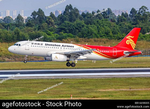 An Airbus A320 aircraft of Shenzhen Airlines with registration number B-6833 at Chengdu Airport (CTU), Chengdu, China, Asia