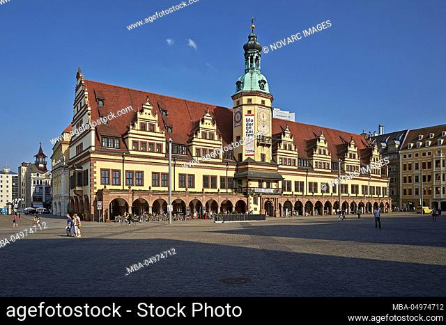 Market with Old Town Hall in Leipzig, Saxony, Germany, Europe