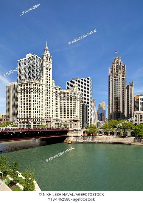 Wrigley Building, Tribune Tower, Chicago river, Illinois