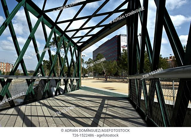 New bridge in Arganzuela at Manzanares river project. Madrid, Spain