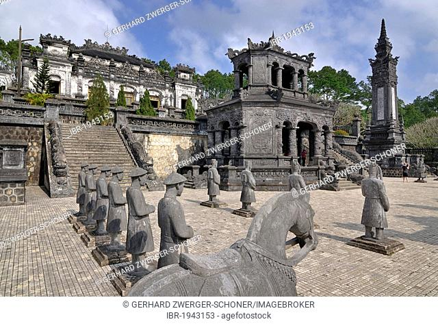 Tomb of Emperor Khai Dinh, mausoleum, guardian statues in stone, Hue, UNESCO World Heritage Site, Vietnam, Asia