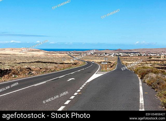 Straight road on Fuerteventura. Canary Islands, Spain